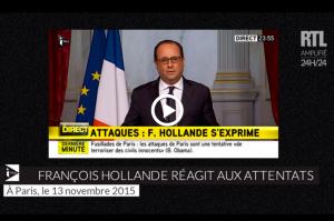 Hollande se expresa tras los atentados.